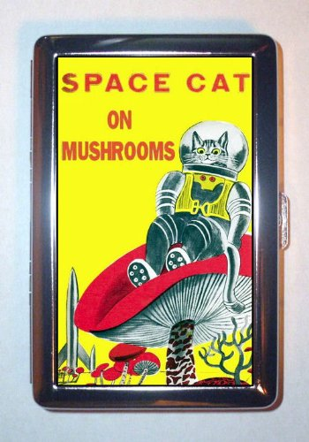 Space Cat on Mushrooms; Drug Science Fiction, ID Wallet or Cigarette Case USA Made