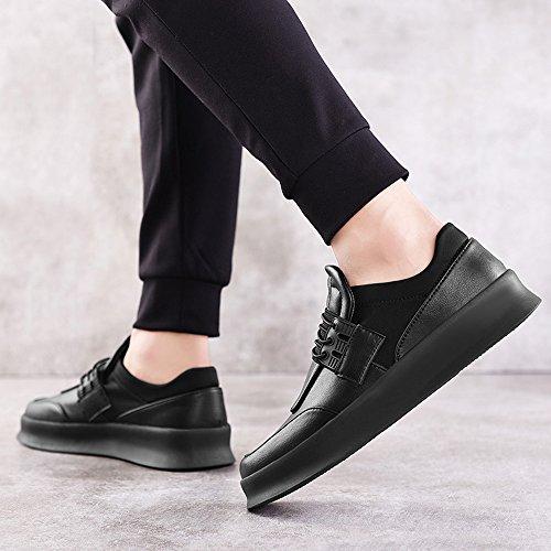 Men's Shoes Feifei Leisure Thick Bottom Wear-Resistant Plate Shoes 2 Colours(Size Multiple Choice) (Color : Black, Size : EU40/UK7/CN41)
