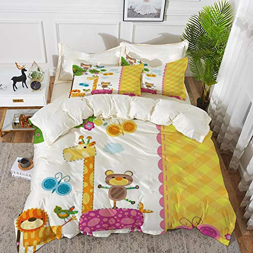 Yaoni Bedding - Duvet Cover Set,Nursery,Baby Kids Design Butterflies Trees Animals Blossoms and Checkered Pattern Ornam,Hypoallergenic Microfibre Duvet Cover Set 104