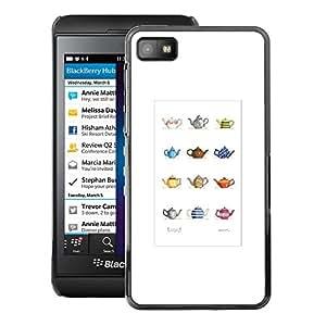 A-type Arte & diseño plástico duro Fundas Cover Cubre Hard Case Cover para Blackberry Z10 (Teapot Minimalist Artistic Pattern)