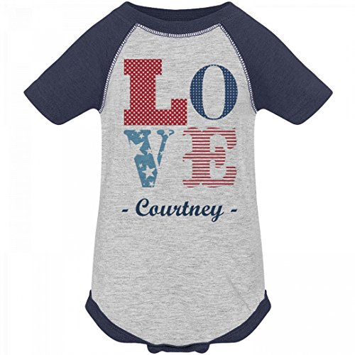 July 4th Love America Courtney: Infant Vintage Raglan Bodysuit