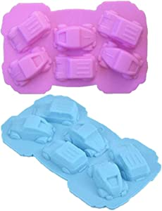Silicone Chocolate Molds Car Cars Candy Molds for Jello, Crayons, Fondant, Hard Candy, Keto Fat Bombs, Resin (2 Pack)