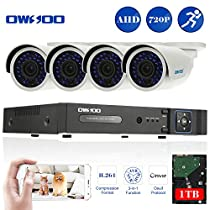 OWSOO 8CH 1080N/720P 1500TVL AHD DVR Security Kit with 1TB Hard Drive P2P & 8x 720P Outdoor CCTV Cameras, Weatherproof and IR Night Views, Plug and Play