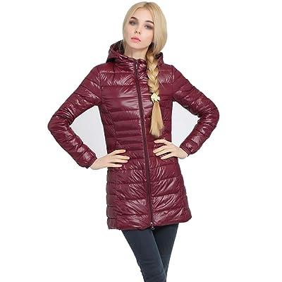 Abrigo largo de la chaqueta de las mujeres Abrigo de Invierno para Mujer con Capucha Chaqueta Ultra Ligera Abajo Chaqueta Delgada y Larga sólida Abajo Pluma Femenina Abajo Parkas portátiles: Hogar