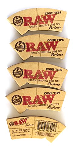 raw rolling paper perfecto cone tips 5 packs = 160 tips