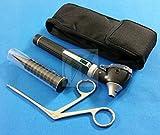 BLACK LED Mini Fiber Optic Otoscope Alligator ENT EAR Nose Forceps Medical Diagnostic Set (HTI BRAND)