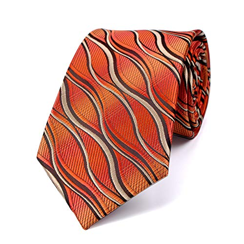 LUISDAN Stripe Tie Jacquard Woven Microfiber Formal Men's Neckties - Various Styles (Orange)