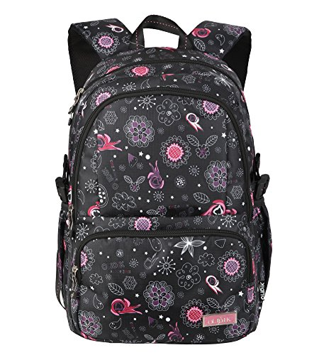 Floral Girls School Backpacks for Kids Children Elementary School Bags Bookbags (Black Elementary School)