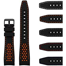 StrapsCo Perforated Rubber Rally Racing Watch Band Strap with Curved Ends & Black Buckle - 20mm 22mm 24mm