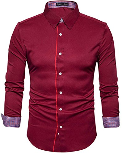 Dress Men's Sleeve JZA262 Button Long Shirts Sportides Down JZA265 WineRed Casual Tops x6q4w1R