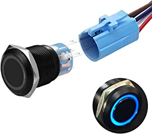 19mm Latching Push Button Switches SPDT ON/Off Waterproof Black Metal 12V Ring LED with Wire Plug (Blue)