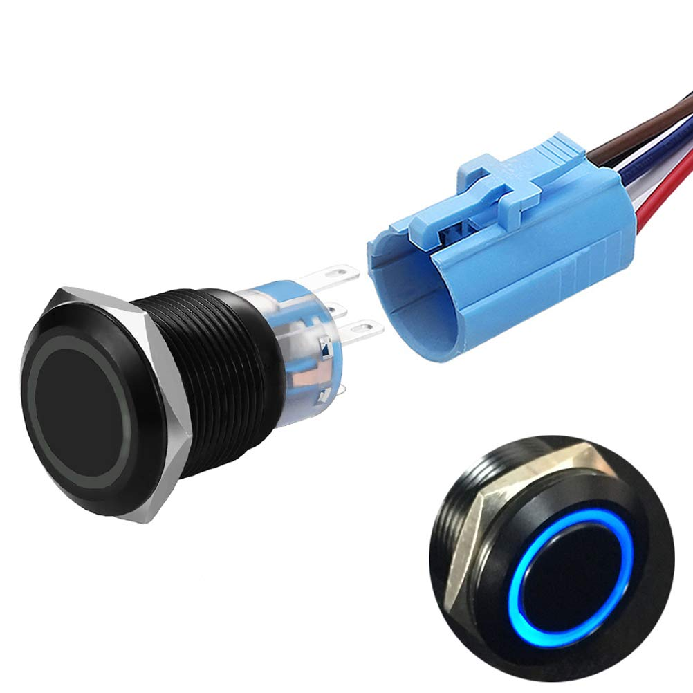 19mm Latching Push Button Switches SPDT ON//Off Waterproof Black Metal 12V Ring LED with Wire Plug Green Quentacy