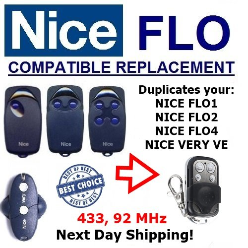 NICE FLOR-S compatible remote clone with NICE FLO1, NICE FLO2, NICE FLO4, NICE VERY VE, Fixed code 433, 92MHz