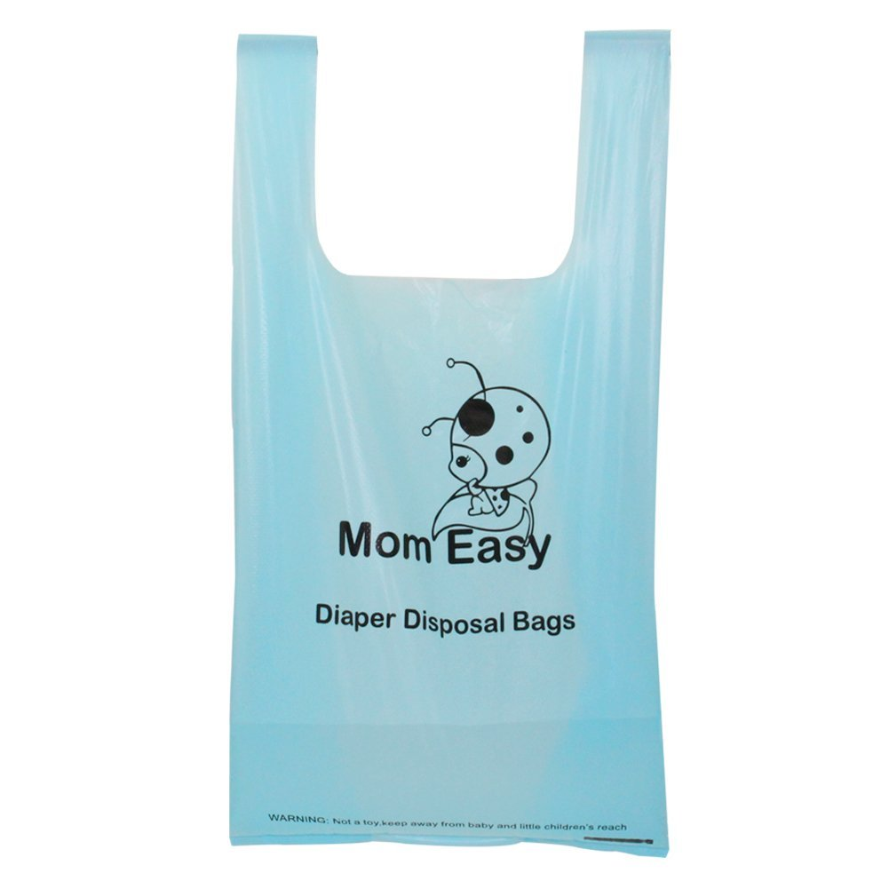 200 Counts MOM EASY Baby Disposable Diaper Sacks Waste Bags with Handles Unscented