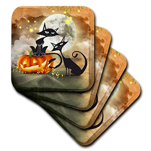 3dRose CST_201124_1 Halloween Two Cats is Telling a Scary Story Each Other Soft Coasters (Set of 4)