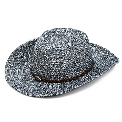 Cowboy Beach Straw Hat (Lanzom Summer Straw Hat Beach Sun Hat Floppy Wide Brim Cowboy Hat (A-Navy Blue))
