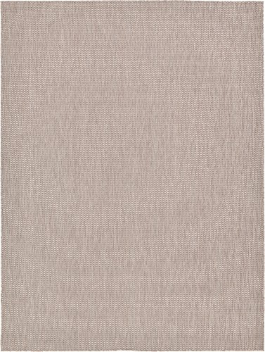 Unique Loom Outdoor Solid Collection Casual Transitional Indoor and Outdoor Flatweave Beige  Area Rug (9' 0 x 12' 0) (Unique Patio)