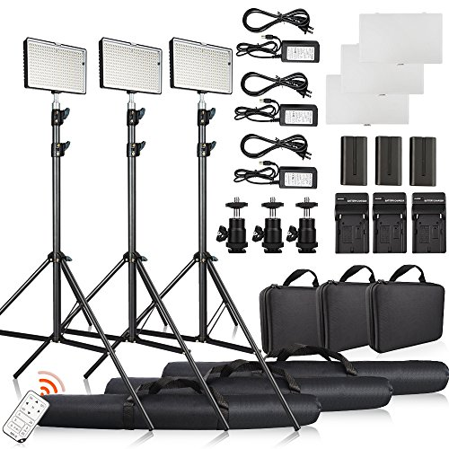 FOSITAN 3 Set LED Video Studio Light Kit, Bi-color 336 LED 3200K-5600K Dimmable 2350 Lux CRI 96+, 75 inches Light Stand, Rechargeable Battery+Charger, Power Adapter, 24W by FOSITAN