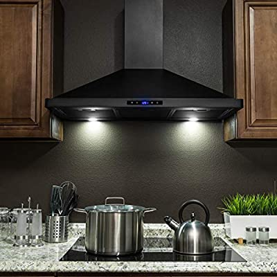 "AKDY 36"" Black Painted Finish Stainless Steel Wall Mount Touch Control Panel Kitchen Range Hood Cooking Fan Vent"
