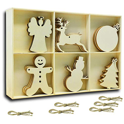 (YuQi 30 PCS Wooden Ornaments Shapes with Holes, Wood Predrilled Cutouts Tags for Christmas Tree Ornaments Blanks Wooden Embellishments with Natural Twine(Snowman,Angel, Deer,Ball,Doll,Trees))