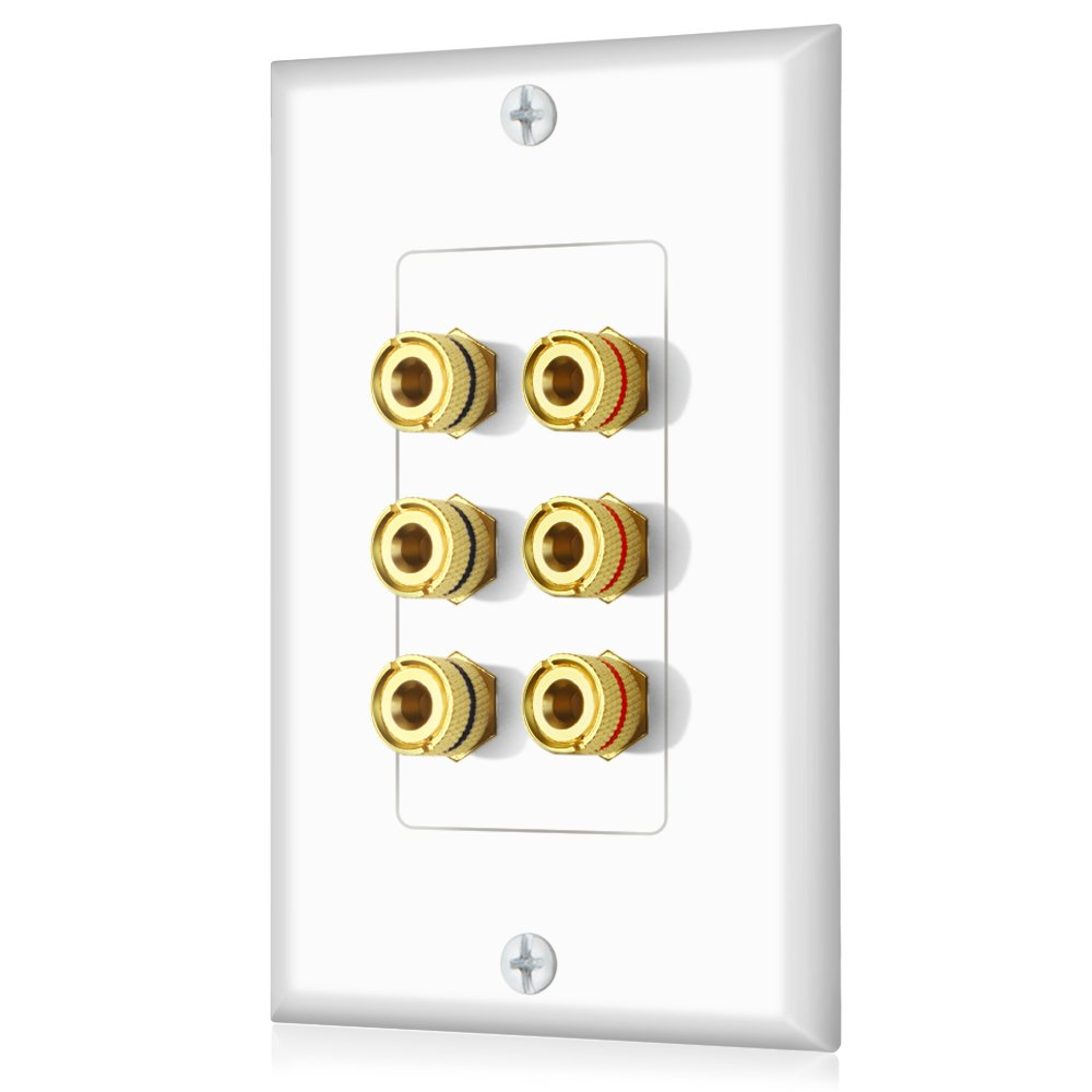 Banana Binding Post Decora Style Wall Plate for 3 Speakers