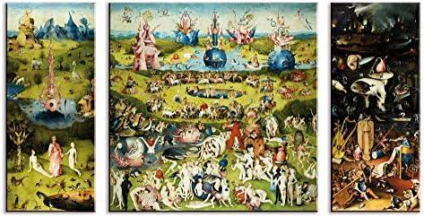 1art1 El Bosco - El Jardín De Las Delicias, 1500, 3 Partes Cuadro, Lienzo Montado sobre Bastidor (130 x 70cm): Amazon.es: Hogar