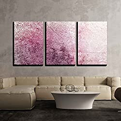 "wall26 - 3 Piece Canvas Wall Art - Pink Textured Wallpaper - Modern Home Decor Stretched and Framed Ready to Hang - 16""x24""x3 Panels"