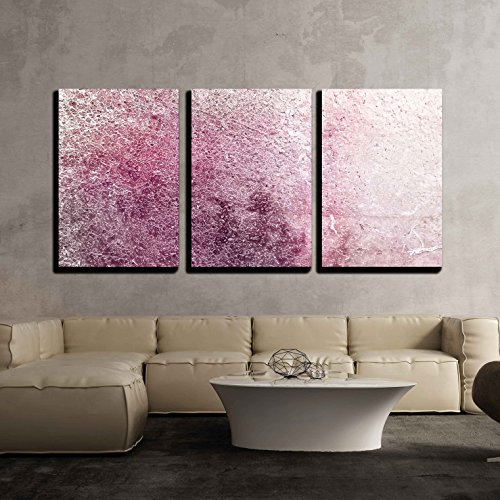 wall26 - 3 Piece Canvas Wall Art - Pink Textured Wallpaper - Modern Home Decor Stretched and Framed Ready to Hang - 24