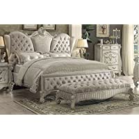 ACME Versailles Ivory Velvet and Bone White Queen Bed