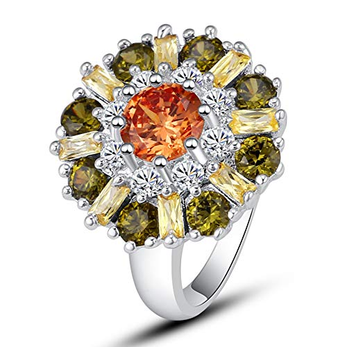 Silver Created Pink Topaz Filled Cluster Flower Statement Ring (Color : Orange, Size : 9) ()