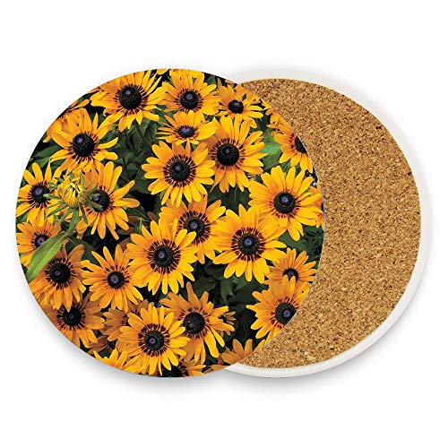 Rudbeckia Denver Daisy Absorbent Coaster For Drinks Ceramic Thirsty Stone With Cork Back Fit Big Cup, No Holder Parck 1]()