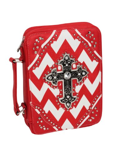 Red and White Chevron Studded Cross Bible Cover. Faux Leather Construction * Textured Silvertone and Black Cross with Studs and Crystal Accents * Round Studs and Pyramid Studs and Crystals (Chevron Cross)