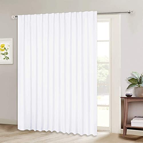 NICETOWN Sliding Door Curtains for Patio, Wide Width Drape, Vertical Curtain for Patio Door White, Width 100 inches, Length 95 inches, Sold Individually
