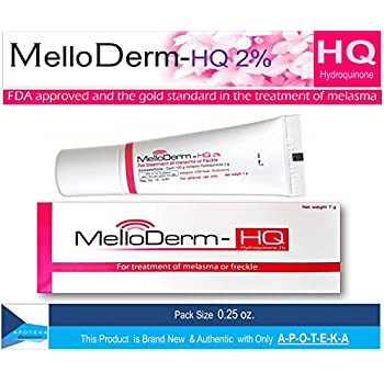 Anti Melasma Hydroquinone 2% Cream (Melloderm-hq 2% 0.25 Ounces) Once Daily At Night with Cost Effectiveness Treatment of Melasma or Freckles by Melloderm