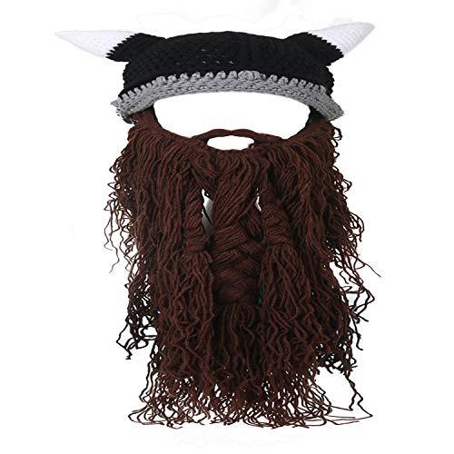 Ypser Baby Adult Beard Viking Knit Hat Barbarian Bull Horn Crochet Beanie Cap Handmade Knitted -