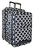 Ever Moda Quatrefoil Two Piece Luggage Set (Black)