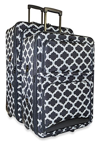 Ever Moda Quatrefoil Two Piece Luggage Set (Black) by Ever Moda