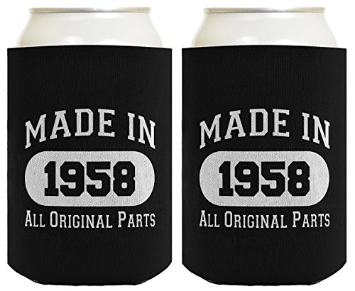 Made In 1958 60Th Birthday Gift 2 Pack Can Coolies Black
