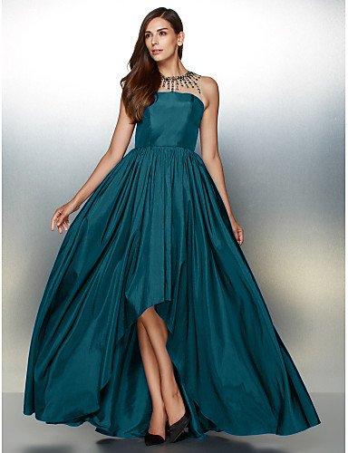 Tafetán Línea Detallando De Vestido Prom De Una Formal Ink Noche Joya Crystal Cuello Con Blue HY De Asimétrica amp;OB qgzaII
