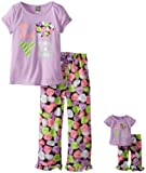 Dollie & Me Little Girls'  Short Sleeve Love Capri Sleep Pajama Set