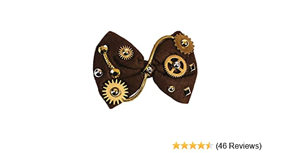 One Size Multicolor Pack of 1 Forum Novelties 78016 Steampunk Brown Bow Tie Victorian Industrial Gears Gems Costume Accessory