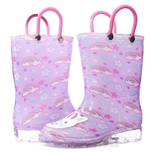 Sara Z Toddler Girls Printed High Cut Puddle Proof Rain Boots Unicorn Pink Size 5/6