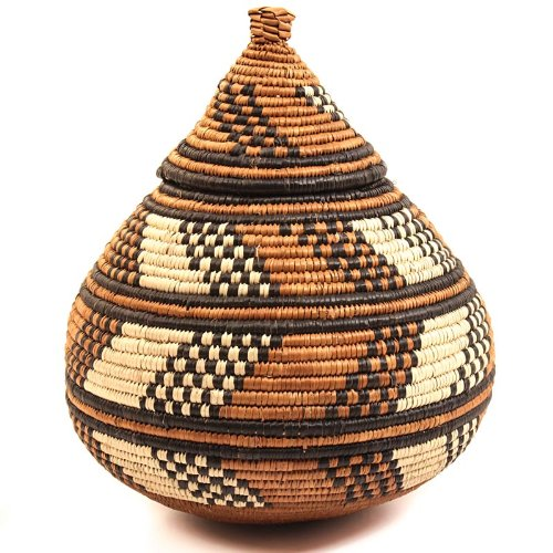Fair Trade Zulu African Ilala Palm Ukhamba Basket 8.5-9.5'' Tall