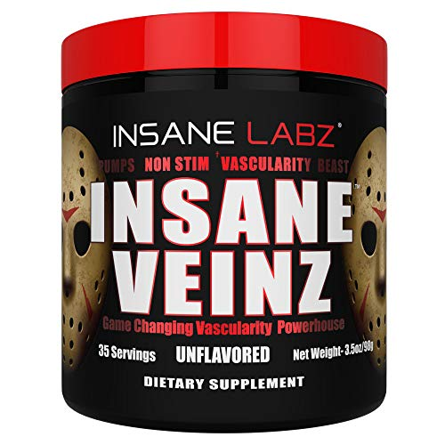 Insane Labz Insane Veinz Non Stimulant NO Enhancing Powder, Nitric Oxide Booster, Loaded with Agmatine Sulfate and Betaine Anhydrous, Increase Vascularity, 35 Srvgs, Unflavored
