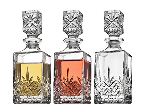 Godinger Mini Whiskey Decanter Barware Set - Dublin Crystal Collection for Liquor Whisky Vodka or Wine - 10oz, set of 3