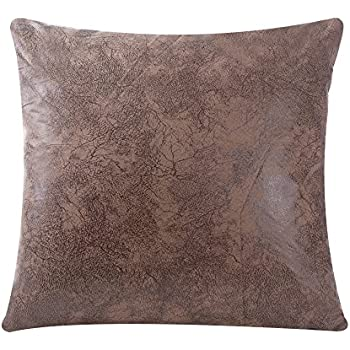 Superieur WFLOSUNVE Soft Faux Leather Pillow Cover Decorative Throw Pillow Case  Cushion Cover For Couch And Sofa 18x18 Inch, No Pillow Insert (Light Brown)