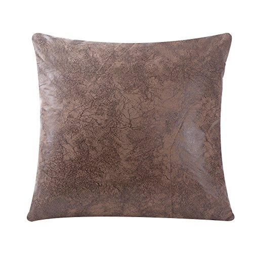 WFLOSUNVE Soft Faux Leather Pillow Cover Decorative Throw Pillow Case Cushion Cover for Couch and Sofa 18x18 Inch, No Pillow Insert (Light Brown) (Couch Covers Western)