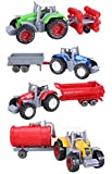 tractor trailer pc games - Cltoyvers 4 Pcs Metal Farm Tractor Trailer Toys Vehicle Play Set - Disc Plow, Water Tank, Wagon, Dump Trailer