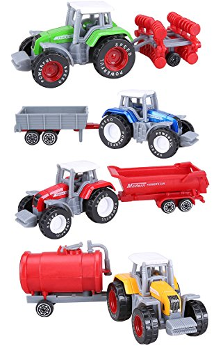 Cltoyvers 4 Pcs Metal Farm Tractor Trailer Toys Vehicle Play Set - Disc Plow, Water Tank, Wagon, Dump Trailer