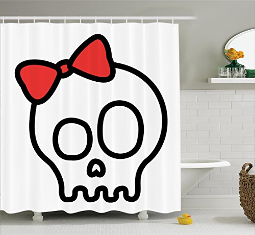 Ambesonne Skulls Decorations Collection, Illustration of Baby Skull Girl with Lace and Halloween Dead Head Teen Emo Art, Polyester Fabric Bathroom Shower Curtain, 75 Inches Long, Red White Black